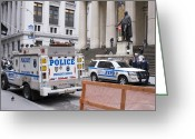 New York Cops Greeting Cards - Police On Wall Street, New York. Greeting Card by Mark Williamson
