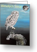 Lesvos Greeting Cards - Polish Christmas Little Owl Greeting Card by Eric Kempson