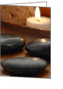 Burn Greeting Cards - Polished Stones in a Spa Greeting Card by Olivier Le Queinec