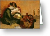 Signature Photo Greeting Cards - Polishing Pans  Greeting Card by Marianne Stokes
