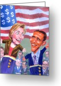 Hillary Clinton Greeting Cards - Political Puppets Greeting Card by Ken Meyer jr