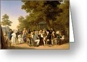 Tuileries Greeting Cards - Politicians in the Tuileries Gardens Greeting Card by Louis Leopold Boilly