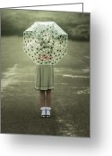 Fifties Greeting Cards - Polka Dotted Umbrella Greeting Card by Joana Kruse