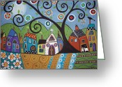 Folk Art Greeting Cards - Polkadot Church Greeting Card by Karla Gerard