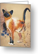 Reproductions Greeting Cards - Pollocks Cat Greeting Card by Eve Riser Roberts