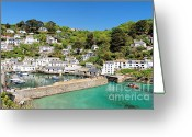 Kernow Greeting Cards - Polperro Greeting Card by Carl Whitfield
