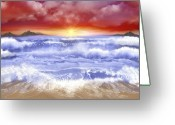 Islands Digital Art Greeting Cards - Polynesian Sunset Greeting Card by Tanya Van Gorder