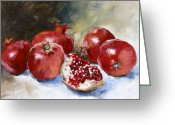 Still Life Greeting Cards - Pomegranate Greeting Card by Tanya Jansen