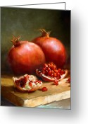 Cooks Illustrated Painting Greeting Cards - Pomegranates Greeting Card by Robert Papp