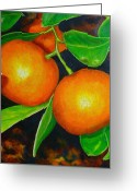 Pomelo Greeting Cards - Pomelo mandarin Greeting Card by Lorraine Fenlon