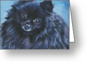 L.a.shepard Greeting Cards - Pomeranian black Greeting Card by Lee Ann Shepard