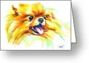 Custom Portrait Greeting Cards - Pomeranian Fire Greeting Card by Christy  Freeman