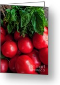 Kitchen Photos Greeting Cards - Pomodoro E Basilico Greeting Card by F Dangelo