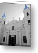 Travelpixpro Greeting Cards - Ponce Puerto Rico Cathedral of Our Lady of Guadalupe Color Splash Black and White Greeting Card by Shawn OBrien
