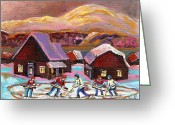 Log Cabins Painting Greeting Cards - Pond Hockey 1 Greeting Card by Carole Spandau