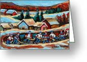 Log Cabins Painting Greeting Cards - Pond Hockey 2 Greeting Card by Carole Spandau