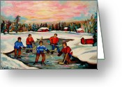 Hockey Street Scenes In Montreal Greeting Cards - Pond Hockey Countryscene Greeting Card by Carole Spandau