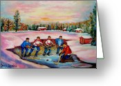 Wintyerscene Greeting Cards - Pond Hockey Warm Day Greeting Card by Carole Spandau