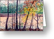 Pond Painting Greeting Cards - Pond in Fall Greeting Card by Donald Maier