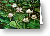 Lilly Pads Greeting Cards - Pond of Petals Greeting Card by Elizabeth Robinette Tyndall