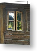 Cabin Window Greeting Cards - Pondering the Woods Greeting Card by Cheri Randolph