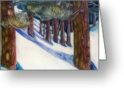 Snow Boarding Greeting Cards - Ponderosa Greeting Card by Steven Holder