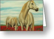 Beautiful Flowers Pastels Greeting Cards - Ponies and Poppies Greeting Card by Lucy Deane