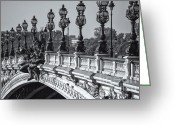 Nymphs Greeting Cards - Pont Alexander III BW Greeting Card by Clarence Holmes