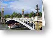 Landmarks Greeting Cards - Pont Alexander III Greeting Card by Elena Elisseeva