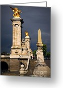 Visitor Greeting Cards - Pont Alexander III in Paris before storm Greeting Card by Elena Elisseeva