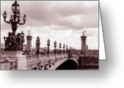 Bridge Prints Greeting Cards - Pont Alexandre III Bridge Greeting Card by Kathy Yates