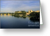 South Of France Greeting Cards - Pont dAvignon et Palais des Papes. Greeting Card by Bernard Jaubert