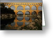 Dusk Greeting Cards - Pont Du Gard Greeting Card by Boccalupo Photography