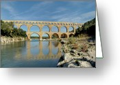 Ancient Rome Greeting Cards - Pont Du Gard, France Greeting Card by David Min