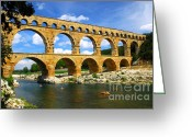 Roman Photo Greeting Cards - Pont du Gard in southern France Greeting Card by Elena Elisseeva