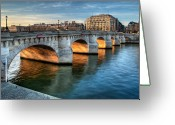 Ile De France Greeting Cards - Pont-neuf And Samaritaine, Paris, France Greeting Card by Romain Villa Photographe