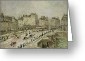 White River Scene Greeting Cards - Pont Neuf Snow Effect Greeting Card by Camille Pissarro