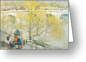 Landscapes Greeting Cards - Pont Royal Paris Greeting Card by Childe Hassam