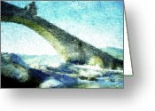 Azure Blue Greeting Cards - Ponte Gobbo Greeting Card by Andrea Barbieri