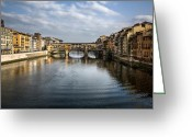 Florence Greeting Cards - Ponte Vecchio Greeting Card by David Bowman