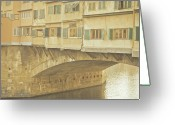 Brick Greeting Cards - Ponte Vecchio Over Arno River Greeting Card by Gil Guelfucci