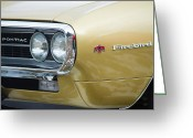 Firebird Greeting Cards - Pontiac Firebird Gold 1967 Greeting Card by James Bo Insogna