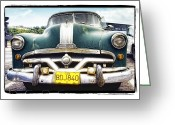 Old Car Pyrography Greeting Cards - Pontiac  Greeting Card by Mauro Celotti