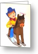 Pretending Greeting Cards - Pony Express Greeting Card by Jeanette Lindblad