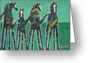 Dallas Cowboys Painting Greeting Cards - Pony Pastures Greeting Card by Lance Headlee