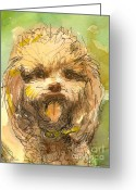 Mini Drawings Greeting Cards - Poodle-Watercolor Greeting Card by Gordon Punt