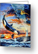 Whale Greeting Cards - Pooka Hill 12 Greeting Card by Hanne Lore Koehler