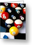 Round Greeting Cards - Pool balls on tiles Greeting Card by Garry Gay