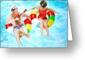 Bright Drawings Greeting Cards - Pool Greeting Card by Beth Saffer