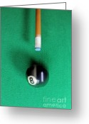 Cue Ball Greeting Cards - Pool cue striking black Eight ball Greeting Card by Sami Sarkis